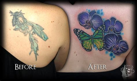 coverup tattoos orchid and butterfuly cover up tattoos