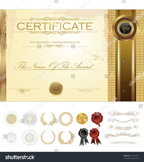 certificate design elements vector certificate template with additional design elements stock