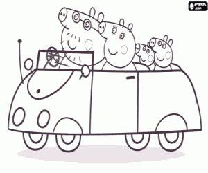 la familia de peppa pig en coche para colorear, pintar e