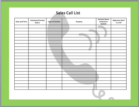 Sales Call Log Template Excel by Sales Call List Templates 5 Free Templates Word Templates