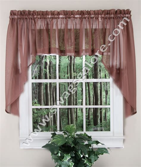 swag kitchen curtains elegance sheer swags chocolate stylemaster jabot swag