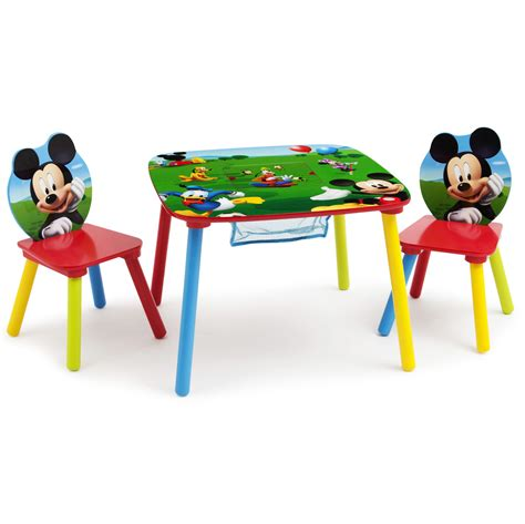 disney mickey mouse wood kids storage table  chairs set