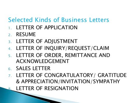 Business Correspondence Letter Types technical writing
