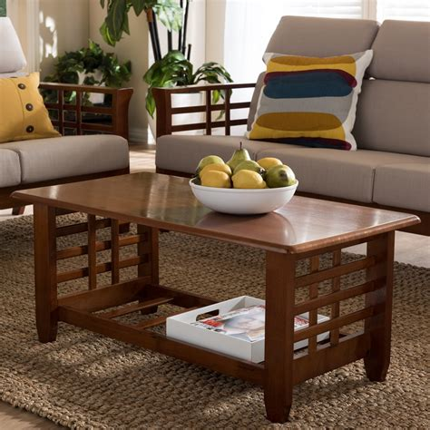 Modern Coffee Table For Stylish Living Room Ct Baxton Studio Larissa Modern Classic Mission Style Cherry Finished Brown Wood Living Room