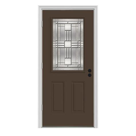 Jeld Wen 36 In X 80 In 1 2 Lite Cordova Dark Chocolate Outswing Front Door