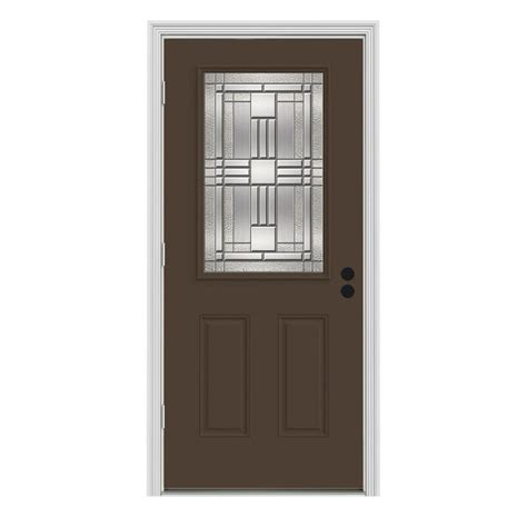 Outswing Exterior Door Jeld Wen 36 In X 80 In 1 2 Lite Cordova Chocolate Painted Steel Prehung Right