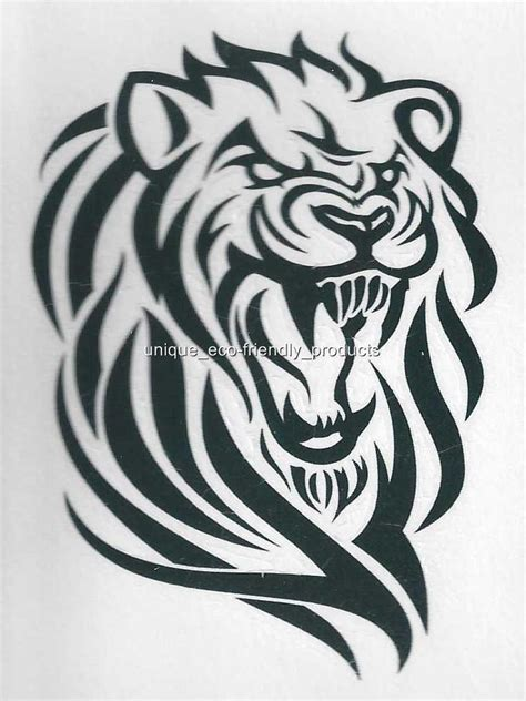 tribal lion outline no whitetemporary tattoo ebay