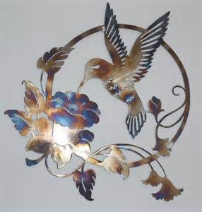 hummingbird and flower metal sign wall decor metal art