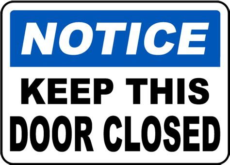 Keep Door Closed Sign by Keep This Door Closed Sign G1858 By Safetysign