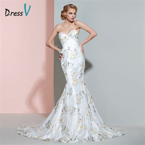pattern for zip up dressing gown dressv printing mermaid wedding dress sweetheart bowknot