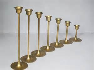 Brass Candle Holders Vintage Set Of 7 Brass Candle Holders Sleek By Milkacervenka