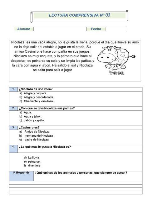 lectura y preguntas de comprension lectora primaria comprensi 243 n lectora 1 186 de primaria fichas 1 5