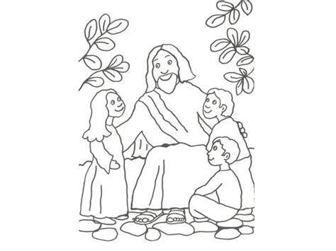 imagenes infantiles para colorear de jesus dibujo infantil de jes 250 s con los ni 241 os para colorear