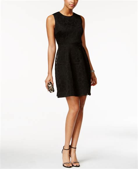 Ivanka Black Dress ivanka sleeveless floral mesh a line dress in black