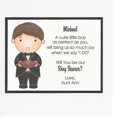 ring bearer invitation poem will you be my ring bearer flat card personalized custom