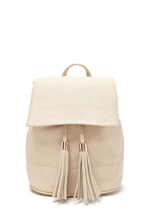 Faux Leather Tasseled Backpack lyst forever 21 tasseled faux leather backpack