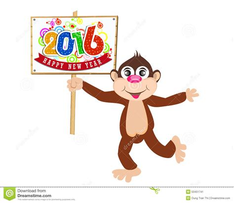 new year for the monkey happy new year 2016 year of the monkey stock vector