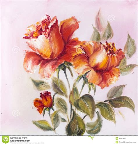 beautiful roses oil painting stock image image 33362851