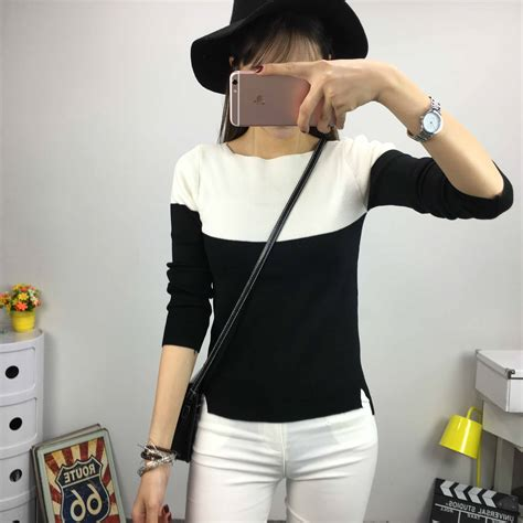 Baju Sweater Pleats Hitam Putih Sweater baju sweater putih hitam cantik 2016 model terbaru