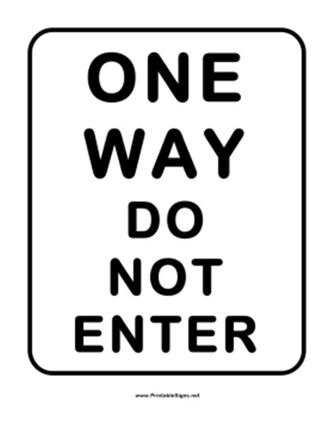 printable one way road sign printable one way do not enter sign