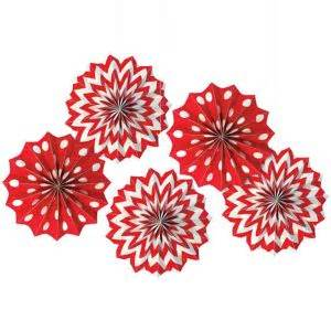 paper fans party city red polka dot chevron mini paper fan decorations 5ct