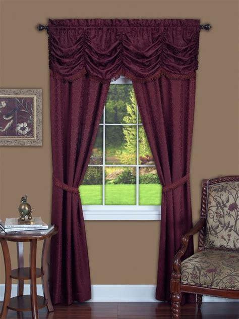 5 piece window curtain sets panache 5 piece window curtain set 55x84 burgundy