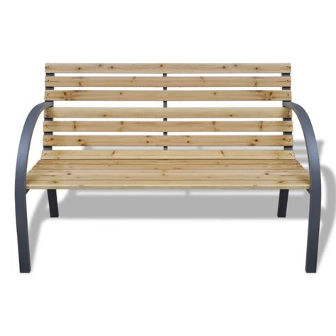 slatted wood bench slatted wooden outdoor garden bench w iron frame buy