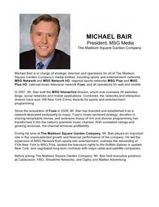 michael bair president msg media the square