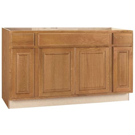 Kitchen Cabinet Sink Base Hton Bay Hton Assembled 60x34 5x24 In Sink Base Kitchen Cabinet In Medium Oak Ksb60 Mo