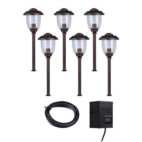 lowes outdoor lighting kits shop portfolio bronze path light kit at lowes com