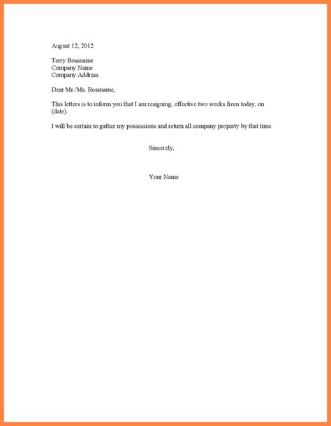 template resignation letter 2 week notice 9 simple two week notice template notice letter