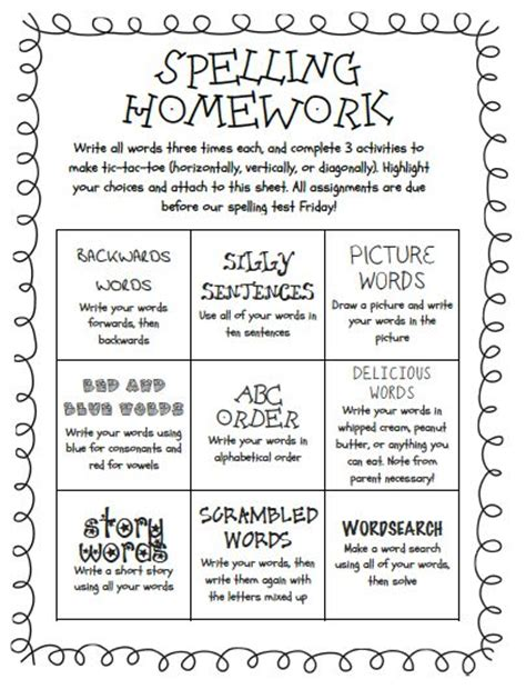 spelling choice board spelling tic tac toe template