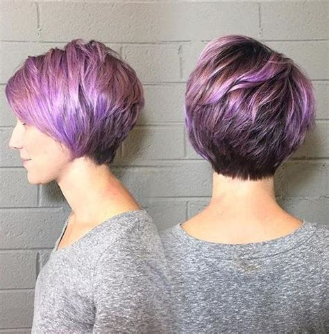 short hairstyles with peekaboo purple layer blonde red brown ombre ed and highlighted pixie cuts