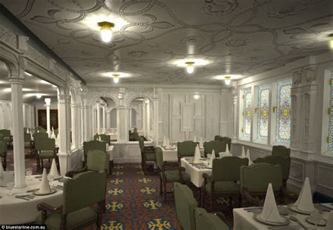 titanic class dining room titanic replica photos show how it will compare to the