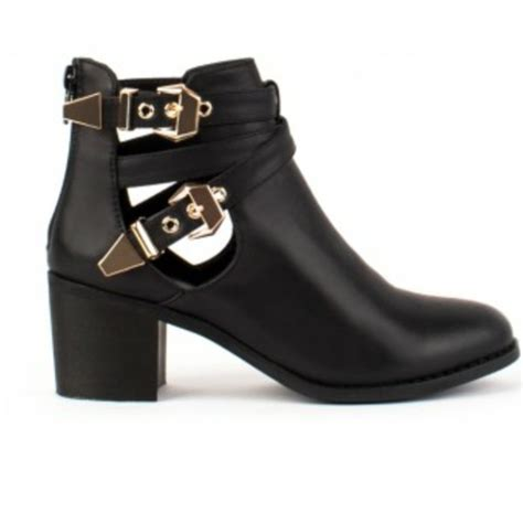 shoes cut out black ankle boots wheretoget