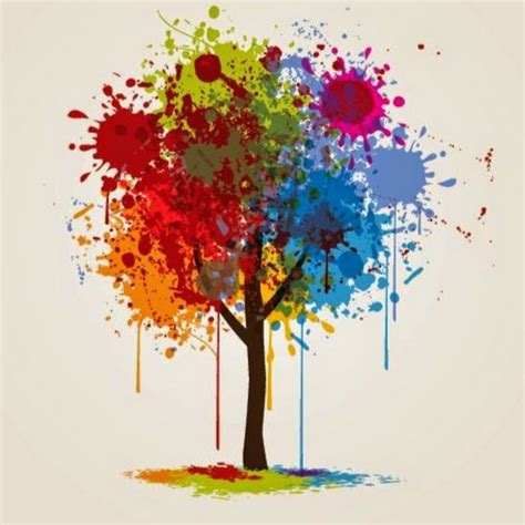 tree colors colorful paint splashed tree vector