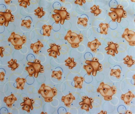 cotton teddy fabric blue material with bears by quiltwear