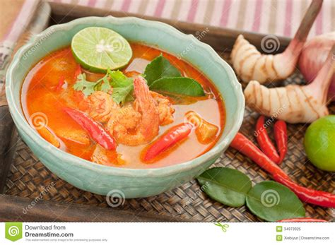 Thai Kitchen Sweet Red Chili - tom yum goong thai cuisine prawn soup with lemongrass royalty free stock photo image 34973325