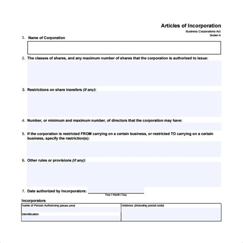 9 Sle Articles Of Incorporations Sle Templates Articles Of Organization Oregon Template