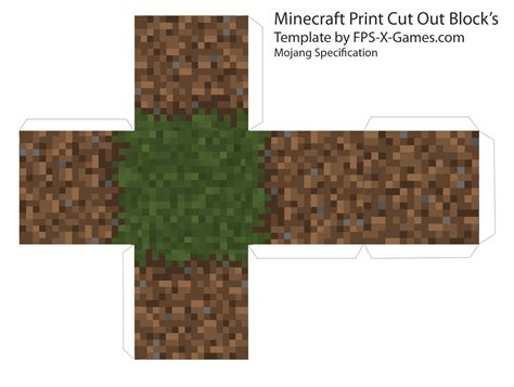 Minecraft Grass Block Papercraft - minecraft grass dirt block template cut out