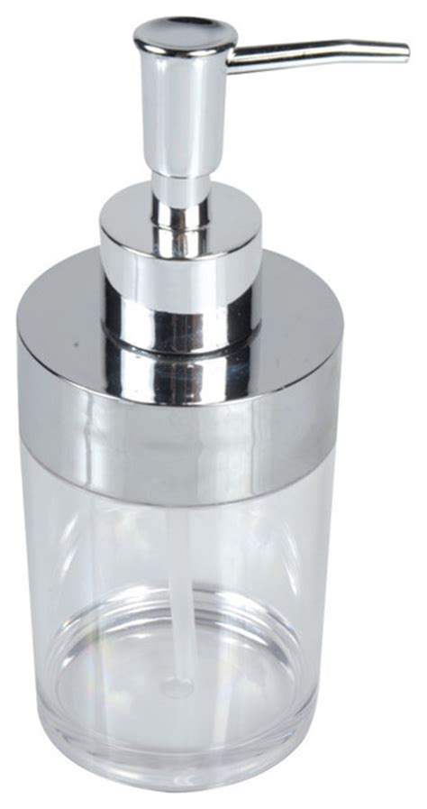 lotion dispensers bathroom bathroom round clear acrylic soap and lotion dispenser chrome top contemporary