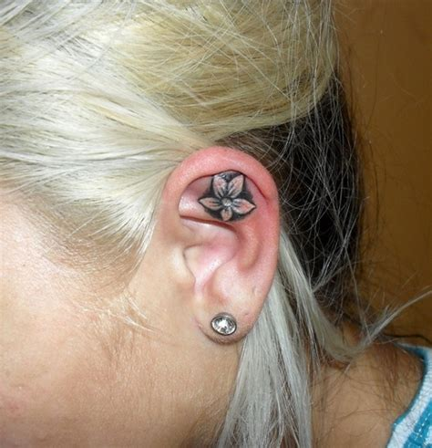 flower ear tattoo ear images designs