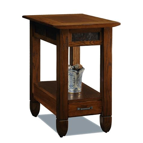 Narrow End Table by Leick Bin Pull Narrow Chairside End Table Candleglow