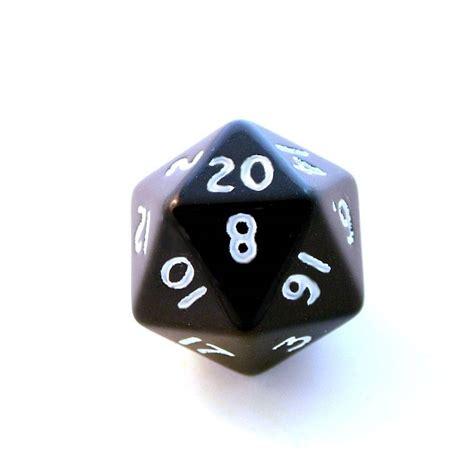 1x black d20 twenty sided die
