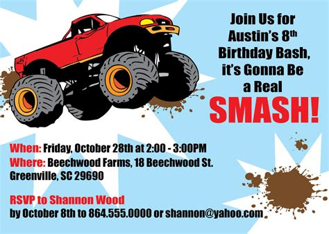 monster truck videos free free printable monster truck birthday invitations drevio