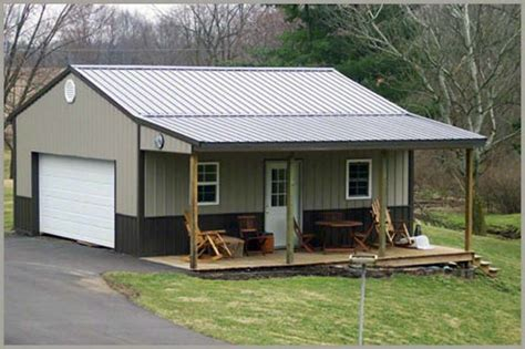 Small Metal Garage by Front Porch Pole Barn Garage Front Porches