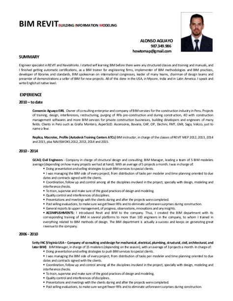 Bim Coordinator Cover Letter by Alonso Aguayo Cv Dise 241 O Bim Ingles