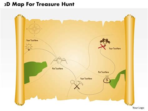 scavenger hunt map template 3d map for treasure hunt powerpoint template slide03