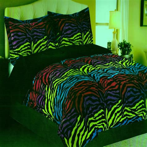 neon blue comforter neon zebra micro mink purple black green pink twin