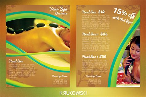 2 sided brochure templates spa 2 sided flyer flyer templates on creative market